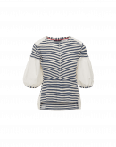 TIDAL: Ecru woven cotton and blue stripe jersey top