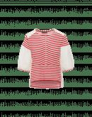 TIDAL: Ecru-T-Shirt aus gewebter Baumwolle und rot gestreiftem Jersey