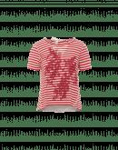 HORIZON: T-shirt a righe con stampa e pannello in tessuto