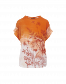 IMAGERY: Cap sleeve in apricot, ecru and ochre floral