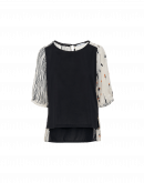 FAVOURABLE: Black cotton jersey top with printed silk sleeves