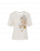 VIEW POINT: Cream jersey top with embroidered flower