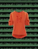 FRITILLERY: Aprikosenfarbenes T-Shirt mit Rüschen