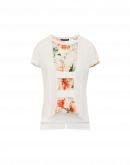 ROMANCE:  Cream cotton t-shirt with inset floral panel