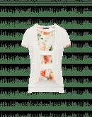 ROMANCE: Cremefarbenes Baumwoll-T-Shirt mit Blumeneinsatz