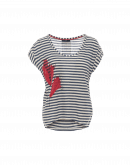 OUTSTANDING: Navy stripe t-shirt with embroidered floral motif