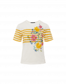 AUREOLE: Cream t-shirt with flock floral and yellow stripe