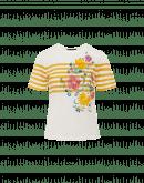 AUREOLE: Cremefarbenes T-Shirt mit Blumenmuster und gelben Streifen