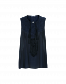 NIMPH: Sleeveless top in navy silk with tassels