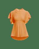 WISH: Square cut top in apricot silk crêpe