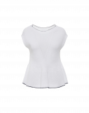 CREATION: Seamless knit peplum top in white knitted Cotton