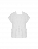 FINESSE: Cap sleeve shirt in white ramie and ribbon lace