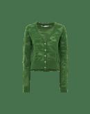WAKEN: Cardigan verde in jacquard floreale