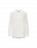 TIMELESS: Stand collar ruffle front shirt in ivory