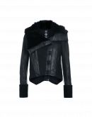 SEARCH-OUT: Giacca corta blu navy in pelle e shearling