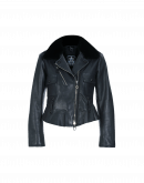 "TRIUMPH: Luxe ""flying jacket"" in navy leather"