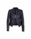 PROUD OF: Navy leather stand collar jacket