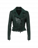 COHORT: Belted biker jacket in winter green leather and suede