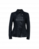 LEGEND: Asymmetrically fastened leather jacket