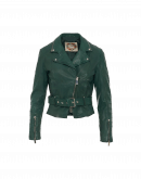 CHICANE: Biker style jacket in green leather