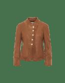 PROCLAIM: Jacke aus karamellfarbenem Leder und Wildleder