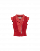 THRUST: Weste im Biker-Stil aus rotem Wildleder und Leder