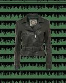 SPEEDSTER: Giacca biker verde scuro con impunture a contrasto
