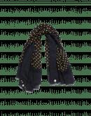 SPOTLIGHT: Yellow dot on navy fine wool scarf