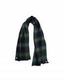 KILTER: Navy, green and white tartan check scarf
