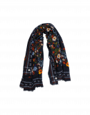 ANTHEM: Navy ground multi colour floral scarf