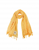 PERFECTLY: Yellow and white cotton check scarf