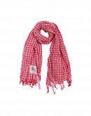 PERFECTLY: Red and white cotton check scarf