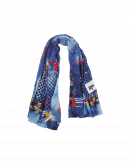 GUSTO: Ivory ground check, stripe and floral scarf