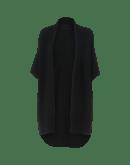 PRUDENCE: Black wool alpaca shawl-gilet