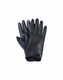 TOUCHING: Short leather gloves in navy blue