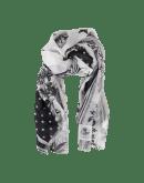 NATURE: Sciarpa a pois e motivo floreale bianco e nero