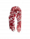 TRANQUILITY: Large scarf in red and white checks and floral