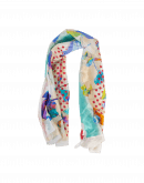 CHROMATIC:  Scarf with bright photo floral print and geometric border