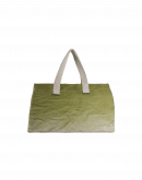 TREASURE: Casual bag in beige and green ombre shaded and dyed canvas