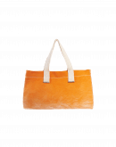 TREASURE: Casual bag in beige and apricot ombre shaded and dyed canvas