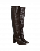 FORTITUDE: Long, high heel boots in dark brown leather
