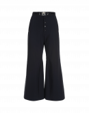 YEARN: Navy flat front flares with buttoned fly