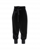 ZEALOUS: Black wrap front cuffed pants in velvet