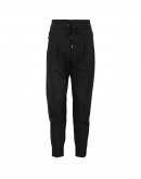EAGER: Black multi-panel joggers with diagonal seams