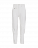 INITIALIZE: Ivory flat front jersey pants without side seams