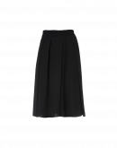 IN A SPIN: Directional pleat skirt-pant in black crêpe