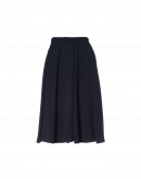 IN A SPIN: Directional pleat skirt-pant in navy crêpe