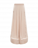 ASSURE: Pleated palazzo pants in tech crêpe, satin and lace
