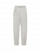 HASTEN: White pleated front pant in tech satin