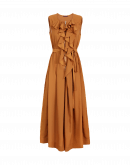 INVITE: Tan crêpe wide leg jumpsuit with zip front